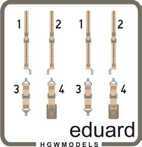 ED49087 Eduard 1/48 seatbelts USN WWII beige SUPERFABRIC