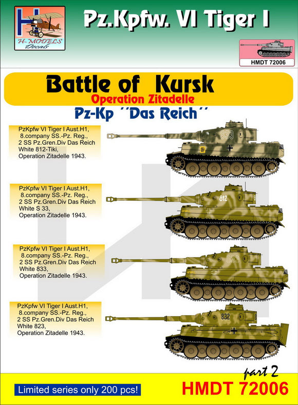 HMT72006 H-Model Decals 1/72 Pz.Kpfw.VI Tiger I Battle of Kursk (Pz.Kp.