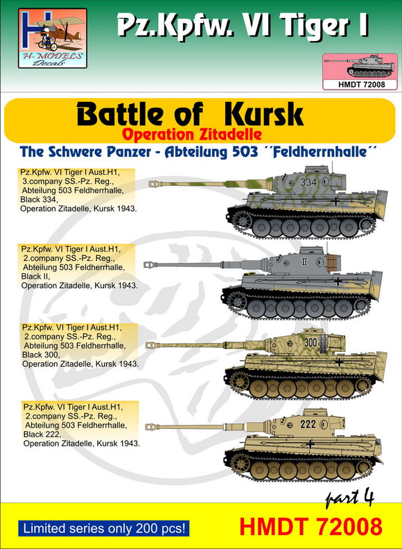 HMT72008 H-Model Decals 1/72 Pz.Kpfw.VI Tiger I Battle of Kursk (Schwere Pz. Abt.503