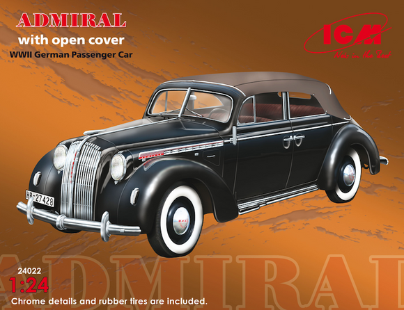 ICM24022 ICM 1/24 Admiral Cabriolet with open cover, WWII German Passenger Car
