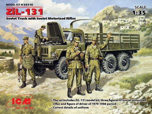 ICM35516 ICM 1/35 Soviet ZiL-131 Truck with Soviet Motorized Rifles . The kit consist of ZiL-131, Soviet Army Truck + Soviet Motorized Infantry (1979-1988) (4 figures - 1 officer, 3 soldiers)