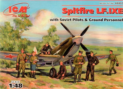 ICM48802 ICM 1/48 Supermarine Spitfire LF Mk.IXe with Soviet Pilots and Ground crew