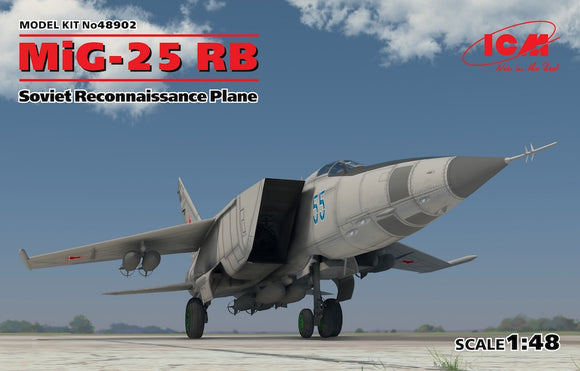 ICM48902 ICM 1/48 Mikoyan MiG-25RB Soviet Reconnaissance Plane • Highly detailed chassis and cockpit interior • Bomb armament is included