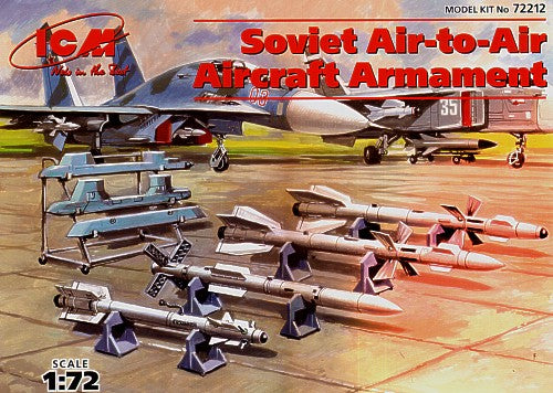 ICM72212 ICM 1/72 Soviet Air-to-Air aircraft armament.. R-27 ET AA-10 Alamo D, R-77 AA-12 Adder, R-27 ER AA-10 Alamo and R-73 AA-11 Archer