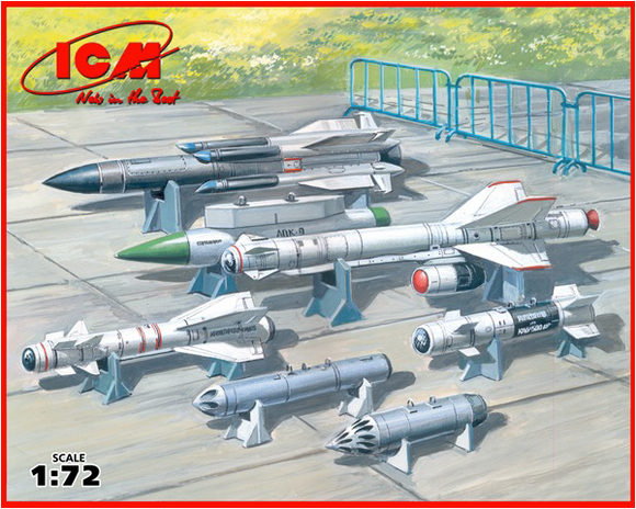 ICM72213 ICM 1/72 Soviet Air-to-Surface aircraft armament.. X-29T, X-31P, X-59M Missiles