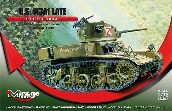 MIR726075 Mirage Hobby 1/72 M3A1 Light Tank late - Pacific 1943