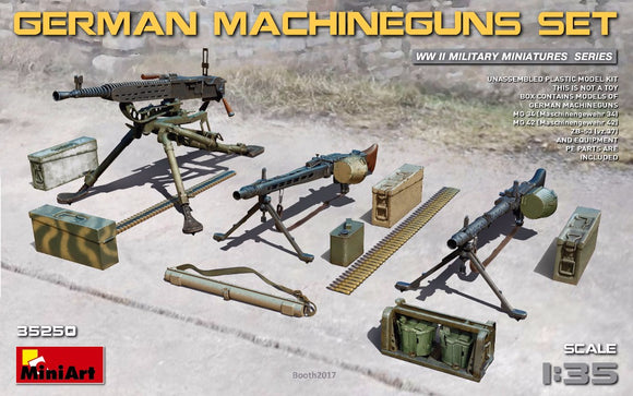 MT35250 Mini Art 1/35 German Machine Gun set. Box contains models of German machineguns (MG 34, MG 42, ZB-53).