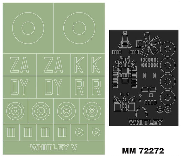 MXMM72272 Montex 1/72 rmstrong-Whitworth Whitley Mk.V (Airfix kits) A06014 1 canopy masks (outside canopy frame mask) + insignia and markings masks