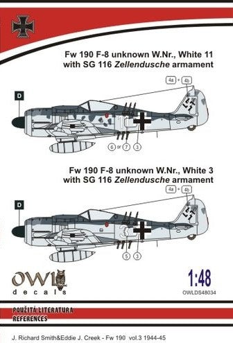 OWLDS72034 OWL 1/48  Fw190 f-8 Unknown W.NR white 11 and white 3