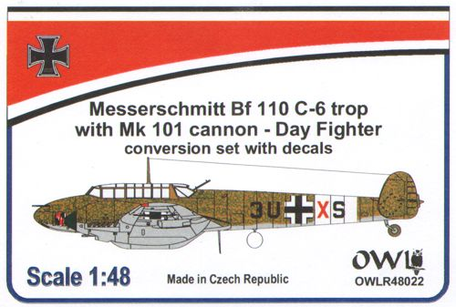 OWLR48022 OWL 1/48 Messerschmitt Bf 110 C-6 Trop with cannon -day fighter (conversion & decals)