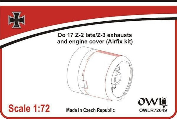 OWLR72049 OWL 1/72 Do17 Z-2 late/Z-3 exhaust and engine cover (Airfix)