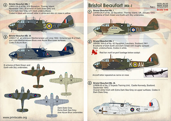 PSL48140 Print scale 1/48 Bristol Beaufort Part 1