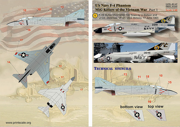 PSL48147 Print Scale 1/48 McDonnell F-4B Phantom MIG Killers Vietnam War Part-1