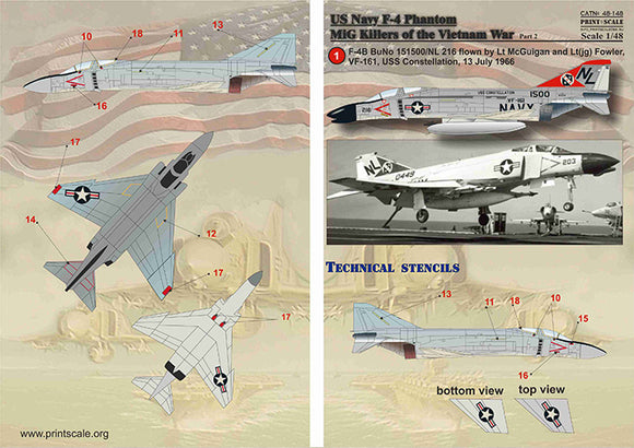PSL48148 Print Scale 1/48 McDonnell F-4B Phantom MIG Killers Vietnam War Part-2
