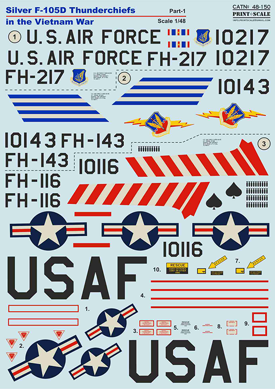 PSL48150 Print Scale 1/48 Silver Republic F-105D Thunderchiefs in the Vietnam War Part-1