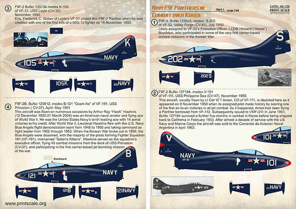 PSL48159 Print Scale 1/48 Navy Grumman F9F-2/F9F-3 Panthers in Combat over Korea Part-1