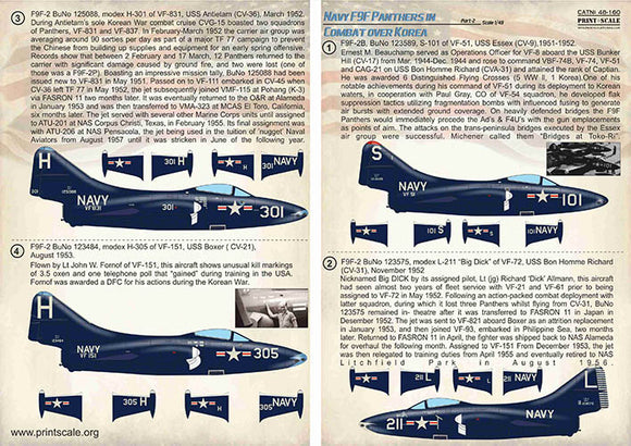 PSL48160 Print Scale 1/48 Navy Grumman F9F-2/F9F-3 Panthers in Combat over Korea Part-2