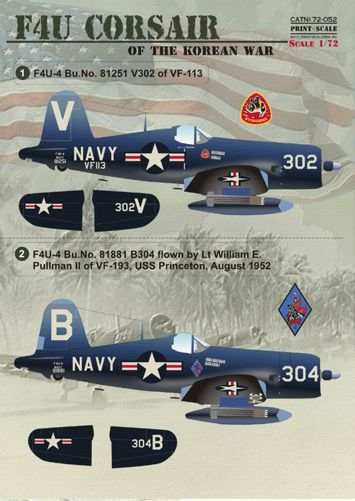 PSL72052 Print Scale 1/72 Vought F4U Corsair Korean War