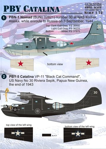 PSL72054 Print Scale 1/72 Consolidated PBY Catalina The complete set 2. Consolidated PBY-5; PBN-1; OA-10A;