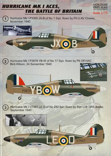 PSL72065 Print Scale 1/72 Hawker Hurricane Mk.I Battle Of Britain Aces (9)