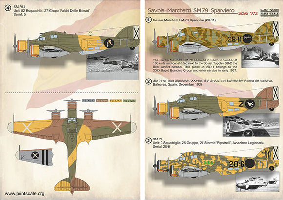PSL72388 Print Scale 1/72 Savoia-Marchetti SM-79 in the Spanish Civil War