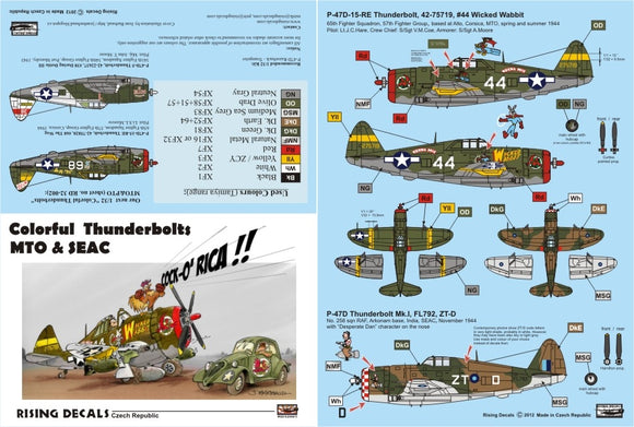 RD32001 Rising Decals 1/32 Colouful Thunderbolts MTO & SEAC
