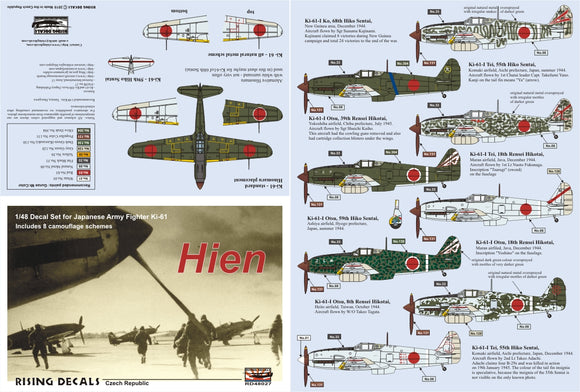 RD48027 Rising Decals 1/48 Ki-61 Hien Japanese Army Fighter (8x camouflage schemes)
