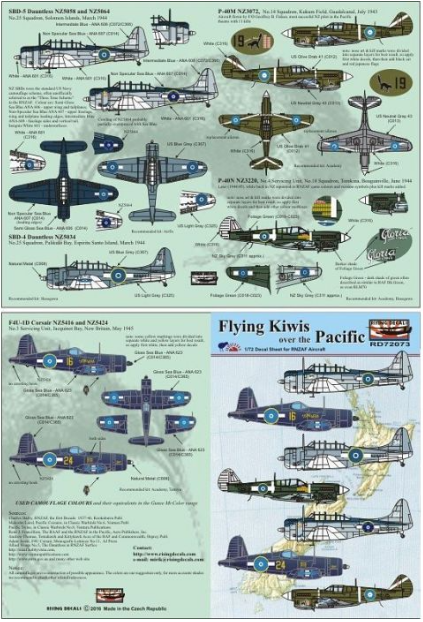 RD72039 Rising Decals 1/72 Flying Kiwis over the Pacific