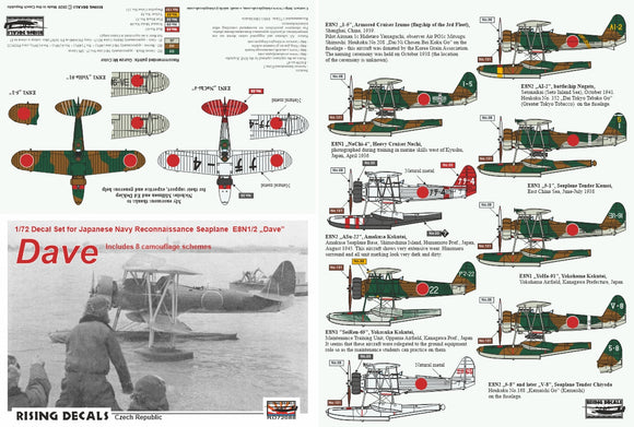 RD72088 Rising Decals 1/72 Japanese Navy Reconnaissance Seaplane Nakajima E8N1/2 Includes 8 camouflage schemes: