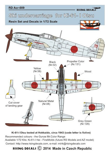 RDACR009 Rising Decals 1/72 Ski Undercarriage Ki-61 Otsu