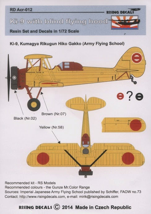RDACR012 Rising Decals 1/72 Tachikawa Ki-9 with blind flying hood (canopy decal) (RS Models kits)