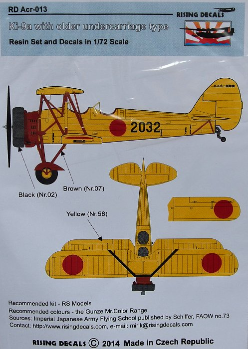 RDACR013 Rising Decal 1/72 Tachikawa Ki-9a with older undercarriage (resin and decal) (RS Models kits)