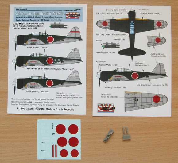 RDACR026 Rising Decals 1/72 Air to air bombs (A6M2) Type 99 No.3 Mk.3 model 1 incendiary bombs