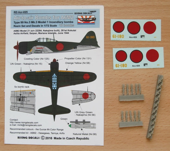 RDACR025 Rising Decals 1/72 Air to air bombs For A6M2