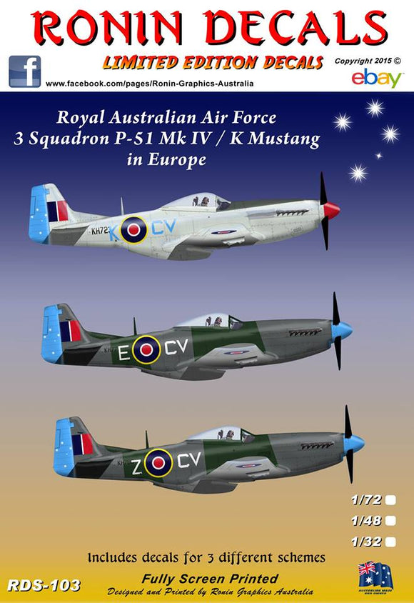 RDS-103 Ronin Decals 1/32 RAAF 3 Squ P-51 Mk IV / K in Europe