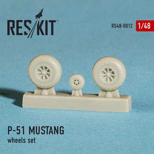 RS48-0012 ResKit 1/48 North-American P-51D MUSTANG wheels set (designed to used with Hasegawa, Hobby Boss, ICM, Monogram and Tamiya kits)