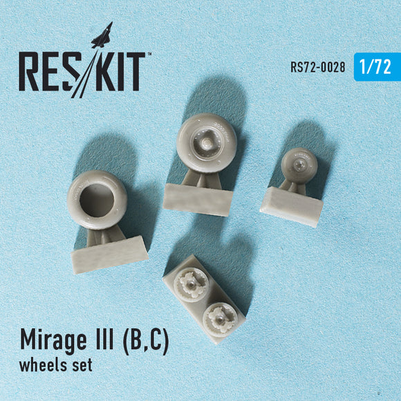 RS72-0028 ResKit 1/72 Dassault Mirage IIIB,IIIC) wheels set (designed to used with Esci, PJ Production, R.V.Aircraft and Valom kits)