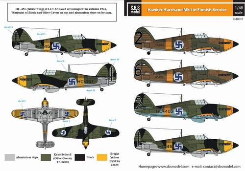 SBSD4811D SBS Model 1/48 Hawker Hurricane Mk.I. Finnish Service WWII.