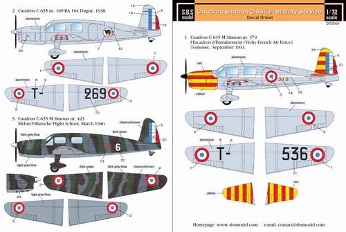 SBSD7201D SBS Model 1/72 Caudron Simoun in military service for Heller kit (decal sheet)