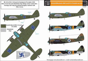 SBSD7207D SBS Model 1/72 Bristol Blenheim Mk.I - Mk.II Finnish Air Force WW II