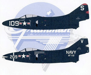 SFD72141 Starfighter Decals 1/72 Killer Panthers. Designed to fit the 1/72 Hobby Boss F9F-2/F9F-3. Markings for 3 aircraft: