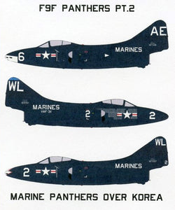 SFD72146 Starfighter Decals 1/72 Grumman F9F-2/2B Panthers Pt.2 Marines over Korea. Markings for 3 USMC F9F-2/2B Panthers. 2 aircraft from VMF-311 and an aircraft from VMF 115. National Insignia Are needed from the kit.