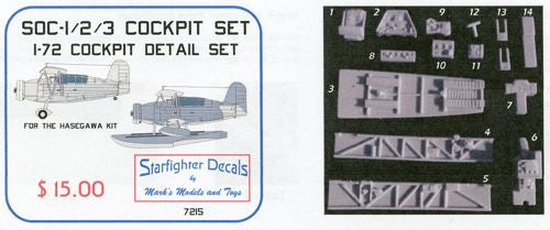 SFDR7215 Starfighter Decals 1/72 SOC Seagull Cockpit set