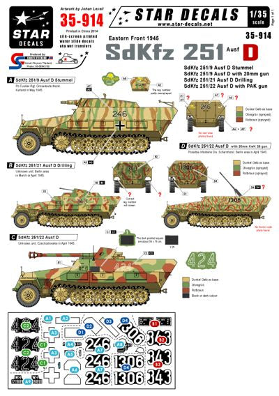 35914 Star Decals 1/35 Eastern front 1945 German Sd.Kfz.251 Ausf.D