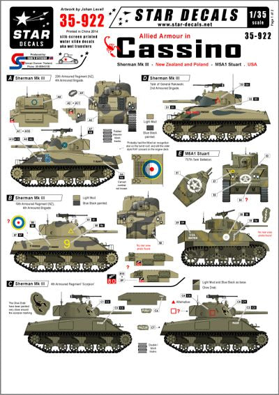 35922 Star Decals 1/35 Allied armour in Cassino. New Zealand, Poland and USA