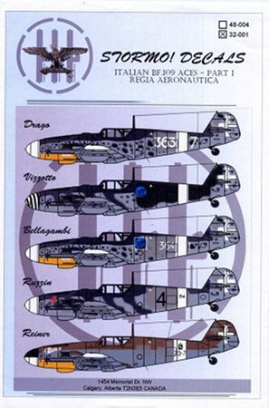 STRM-32-001 Stormo Decals 1/32 Italian BF-109 Aces Part 1