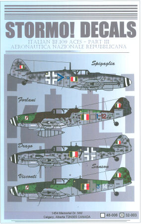 STRM-32003 Stormo Decals 1/32 Italian BF-109 Aces Part III