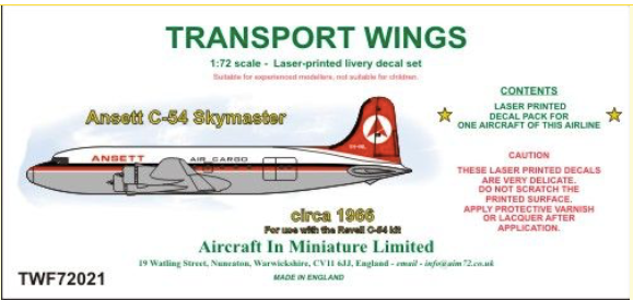 TWL72021 AIM Transport Wings 1/72 Ansett C-54 Skymaster (circa 1966)