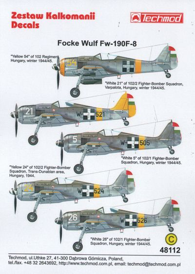 TM48112 Techmod 1/48 Focke-Wulf Fw-190F-8 (Hungarian)
