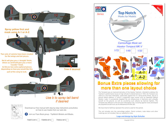 TNM32-M013 Top Notch 1/32 Hawker Tempest Mk.V camouflage pattern paint mask (designed to be used with Special Hobby kits)